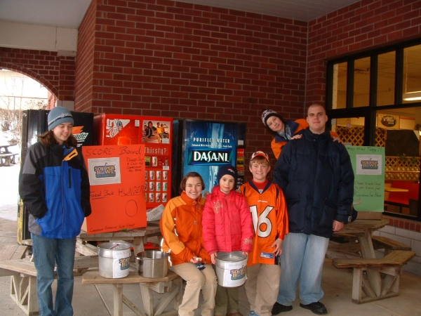 Cooperstown Ecumenical Youth Group gathers donations at the local grocery on Souper Bowl Sunday.