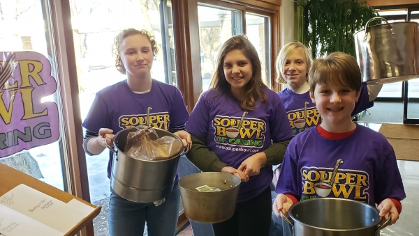 All ready to collect for Souper Bowl of Caring