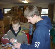 St. Matthew UCC youth sorting food a the People\'s Resource Center in Wheaton, IL