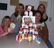 The Acteens of Community Baptist Church in Greensburg, KY pose with the soup cans and money they collected.