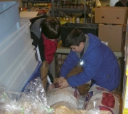 St. Matthew UCC youth filling up potato bags at the People\'s Resource Center in Wheaton, IL