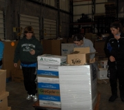 Sorting items at the Regional Food Bank
