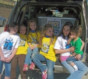 Girls Ministries delivering food collected 2008